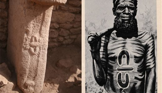 """Above Left - Pillar 28 from Enclosure C, Gobekli Tepe (Image Credit: K. Schmidt, DAI). Above right - """"Medicine Man of the Worgaia"""" (Image Credit: Peoples of All Nations, 1922)."""