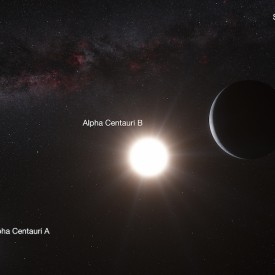 Alpha Centauri system with planet, artists impression (Image credit ESO/L. Calçada/N. Risinger).