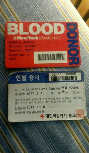 Blood donation cards of the author