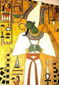 Lord Osiris in white gown with crooked staff, note green skin and what seems to be an elongated head (image credit: Wiki Commons).