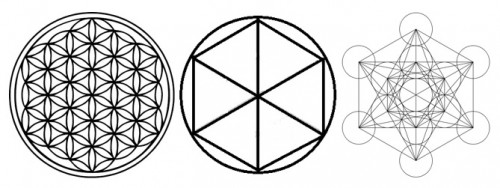 Flower of Life, Haggel rune and Metatron's Cube.