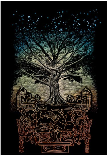 The Yanxcha Sacred Tree of the Maya. (Image source mmancilla.1990.blogspot.com).