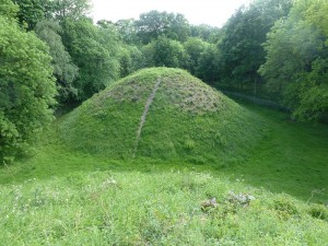 Typical neolithic burial mound, situated at Bartlow Hills in Cambridge, UK.