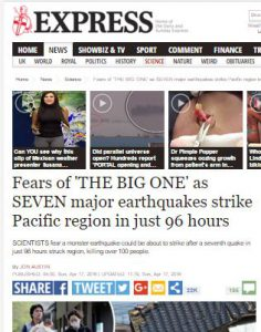 The earthquake news page from the Express website.