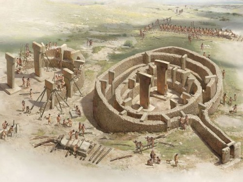 Artists impression of Gobekli Tepe during construction process (Image credit: National Geographic).
