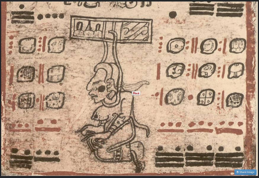Ixtab, recorded in a Mayan Codex. (Image source www.luminousinsect.tumblr.com).
