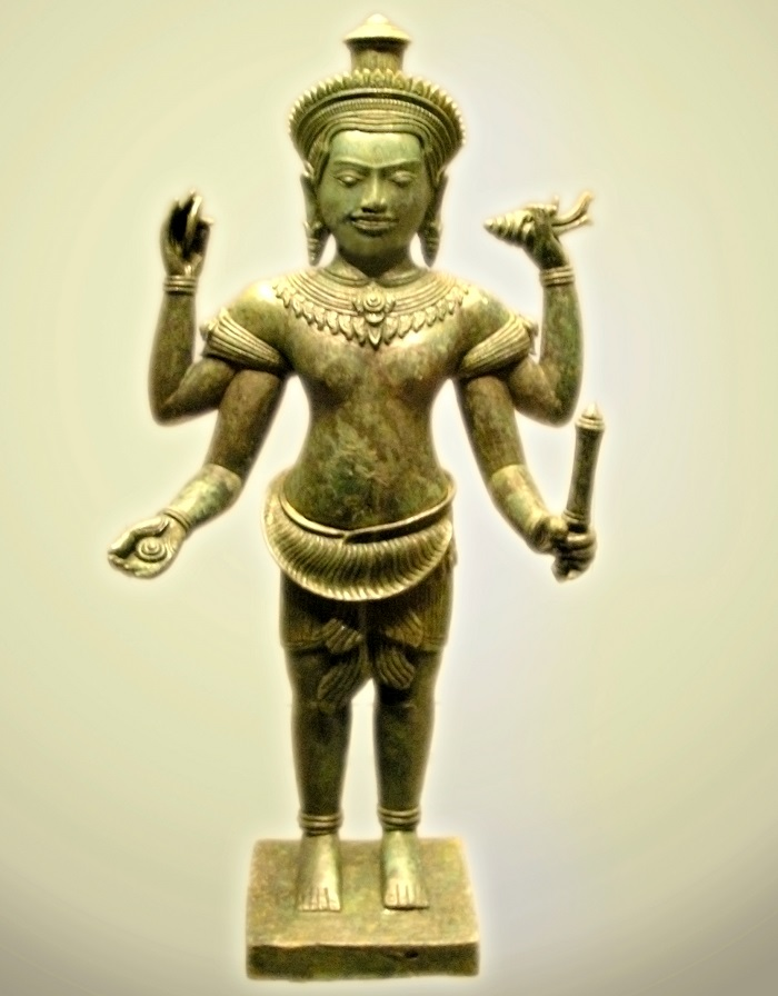 12th century Khmer statue of Vishnu. (Image credit Wikipedia).
