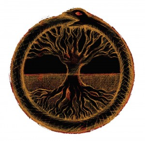 The oroborus serpent eating its tale reminds of of the infinite cycle whilst roots and branches depict the Yin and Yang duality of that which dwells in darkness and that which dwells in light.