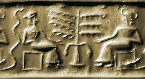 4000 year old Babylonoan seal depicting man and women eating from a tree, in the presence of a serpent.