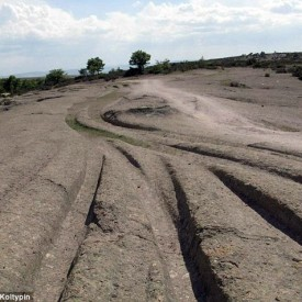 Fossilised Vehicle Tracks in Turkey (Image credit: Dr Alexander Koltypin).